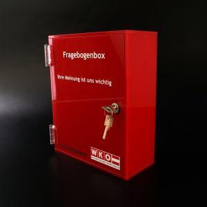 Fragebogenbox aus Acrylglas für die Wirtschaftskammer Oberösterreich (WKO)
